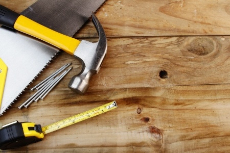 Tools on Wooden Workbench